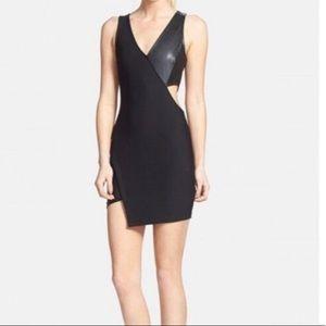 astr black cut out bodycon asymmetric mini dress